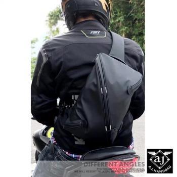 AJ亞介 防潑水單肩胸掛包 重機包 騎士包 黑色 UE9019