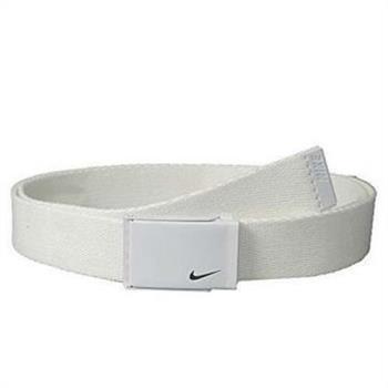 【Nike】2018金屬扣標誌棉軟織帶白色皮帶(預購)