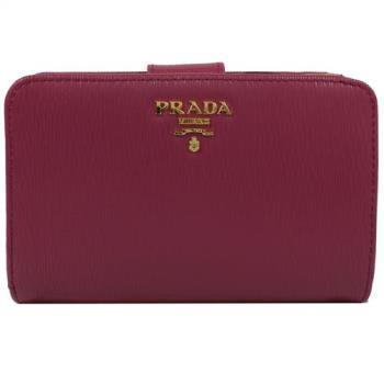 PRADA 1ML225 經典浮雕LOGO水波紋皮革扣式中夾.桃紅