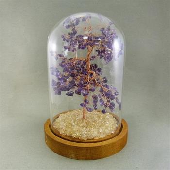 【寶峻晶石館】紫水晶發財樹 簡約現代風(附玻璃罩)