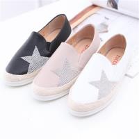 ZUCCA【z6313】金星鑽布面厚底懶人鞋-黑色/白色/粉色