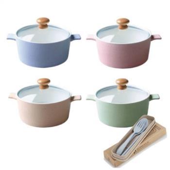 【買2送2】日式簡約陶瓷碗800ml+送小麥餐具組(隨機)