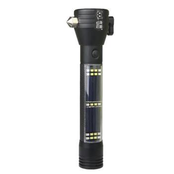 多功能車用手電筒 照明燈 警示燈 高分貝警報器 安全帶切割 車窗擊破 指南針 行動電源 USB 太陽能 鋰電池充電
