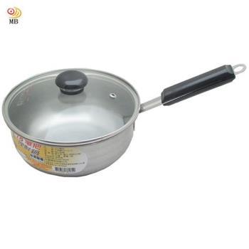 月陽台灣製造食品級430不銹鋼加蓋18cm單把鍋湯鍋(381642)