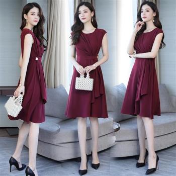 SZ-韓系典雅氣質純色傘狀高腰裙-S-2XL(共三色)