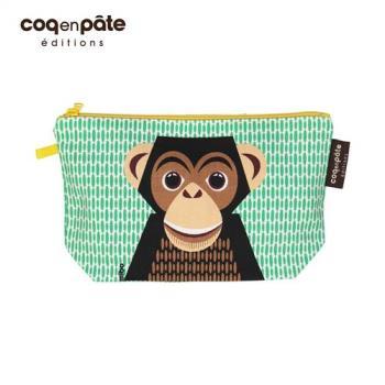 【BabyTiger虎兒寶】COQENPATE 法國有機棉無毒環保化妝包 / 筆袋- 畫筆兒的家 - 黑猩猩