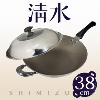 清水星鑽陶瓷不沾炒鍋38CM