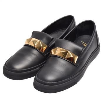 GIUSEPPE ZANOTTI 滑面小牛皮鉚釘鑲飾休閒鞋(黑-44.5-展示品)