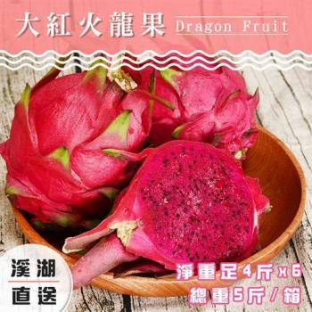 吉寶鮮果 溪湖高磅紅肉火龍果禮盒-二箱(約5斤/箱)