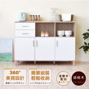 《HOPMA》典藏三門二抽廚房櫃/美背/櫥櫃/收納櫃