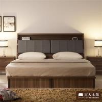 【日本直人木業】Italy6尺加大雙人抽屜床組(床底有2個收納抽屜)