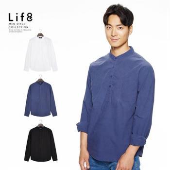 Life8-Casual 超柔棉 水洗立領半開襟襯衫-10089
