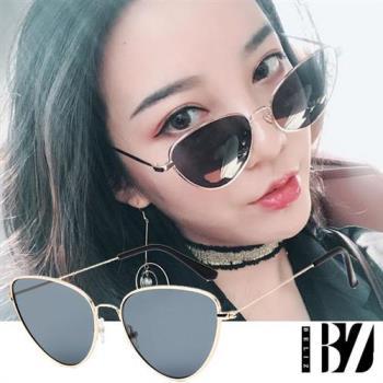 BeLiz金框貓眼 透視炫色時尚墨鏡 金框黑