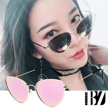 BeLiz金框貓眼 透視炫色時尚墨鏡 金框粉