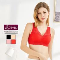 Olivia 無鋼圈大尺碼雙層拉提蕾絲舒適睡眠內衣 紅色
