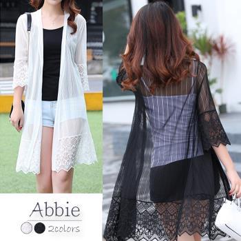 Abbie韓版時尚七分袖蕾絲長版罩衫