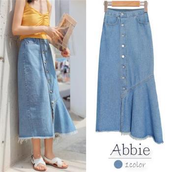 【Abbie】學院風單排扣高腰牛仔魚尾裙