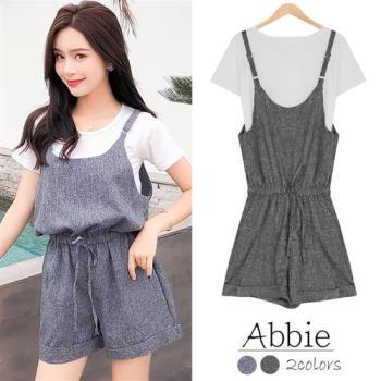 【Abbie】韓版時尚白T+連身吊帶短褲二件組