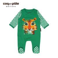 【BabyTiger虎兒寶】COQENPATE 法國有機棉乖乖睡套裝組(附帽) - 老虎