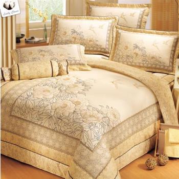 幸運草- 鵑戲牡丹 高級精梳棉大版立體車工特大八件式獨立ABC版床罩組