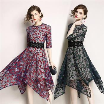 M2M-蕾絲刺繡不規則禮服洋裝-M-3XL(共四色)