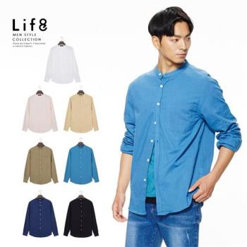 Life8-Casual 涼感棉紗 多色亨利領薄長襯衫-10090