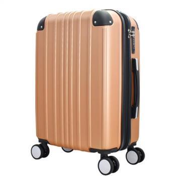 WALLABY 袋鼠牌 ABS 經典直條紋 20吋 拉鍊行李箱 玫瑰金