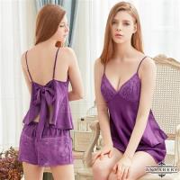 大尺碼Annabery 緞面美背上衣短褲二件組(紫色)