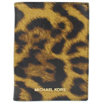 MICHAEL KORS 經典LOGO 豹紋防刮皮多功能中夾.深咖