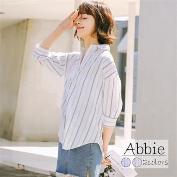 【Abbie】小清新翻領條紋襯衫