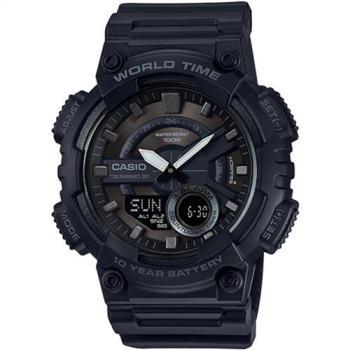 CASIO 雙層次設計運動風多功能雙顯錶(黑)_AEQ-110W-1B