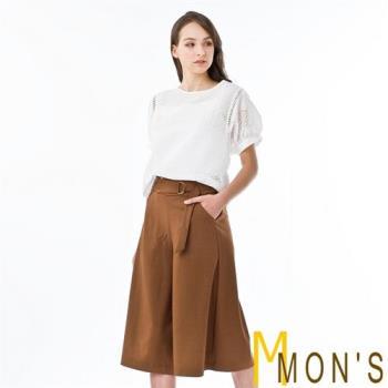 MONS名媛氣質公主袖100%純棉上衣組