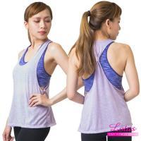 【LOTUS】後扭帶造型假兩件舒適運動BRATOP-優雅紫