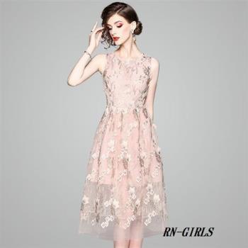 RN-girls-精品小華麗繡花無袖長洋裝小禮服