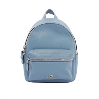 COACH 經典馬車LOGO荔枝紋皮革小款後背包(灰藍色)