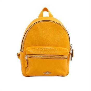 COACH 經典馬車LOGO荔枝紋皮革小款後背包(黃色)