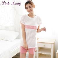 PINK LADY 字母條紋居家短袖成套睡衣(粉)327