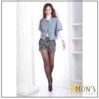 MONS獨家歐系顯瘦格紋印花彈力短褲