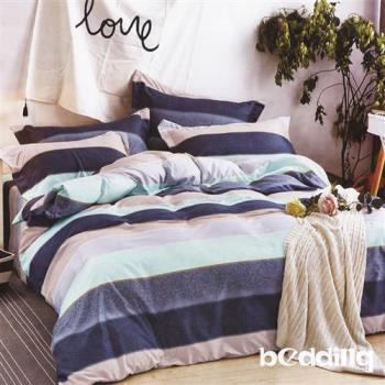BEDDING-活性印染5尺雙人薄式床包+鋪棉兩用被組-驛動情調