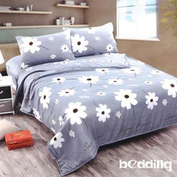 BEDDING-活性印染5尺雙人薄式床包+鋪棉兩用被組-溫婉花語-灰