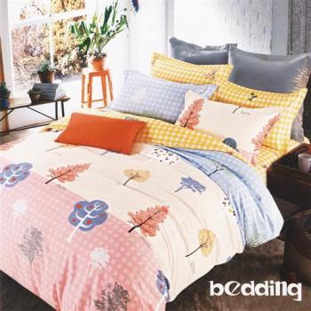 BEDDING-活性印染5尺雙人薄式床包+鋪棉兩用被組-童話森林