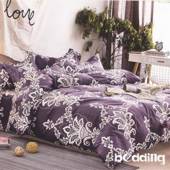 BEDDING-活性印染5尺雙人薄式床包+鋪棉兩用被組-秋水伊人-紫