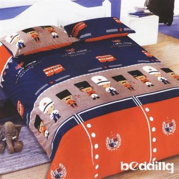 BEDDING-活性印染5尺雙人薄式床包+鋪棉兩用被組-皇家士兵