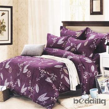 BEDDING-活性印染5尺雙人薄式床包+鋪棉兩用被組-春花秋葉