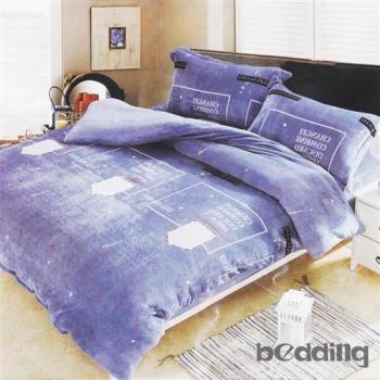 BEDDING-活性印染5尺雙人薄式床包+鋪棉兩用被組-星月神話-藍