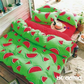 BEDDING-活性印染5尺雙人薄式床包+鋪棉兩用被組-西瓜