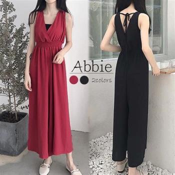 【Abbie】韓版V領高腰顯瘦連身寬褲