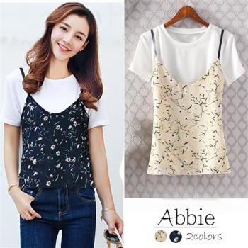 【Abbie】韓版時尚上衣+印花雪紡背心二件套組