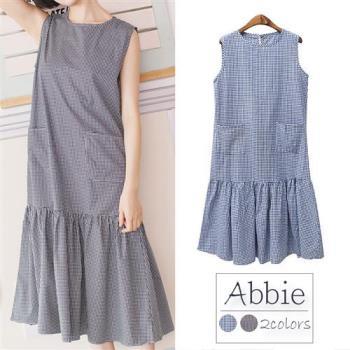【Abbie】日系清新格子無袖魚尾洋裝