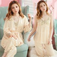 lingling日系 冰絲細肩帶睡衣+網紗刺繡罩衫+長褲三件式睡衣組(全尺碼)
